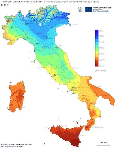 irraggiamento solare italia